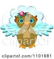 Clipart Flying Owl And Cloud Royalty Free Vector Illustration by bpearth