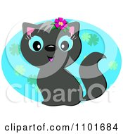 Clipart Cute Black Cat Over A Blue Floral Oval Royalty Free Vector Illustration by bpearth