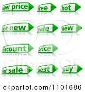 Clipart Green And White Retail Pencil Or Arrow Labels With Reflections 2 Royalty Free Vector Illustration by dero