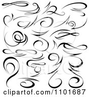 Clipart Black Tribal Swirl Calligraphic Design Elements 2 Royalty Free Vector Illustration by dero