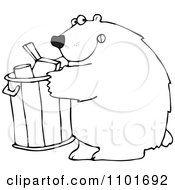Clipart Outlined Bear Getting Into A Garbage Can Royalty Free Vector Illustration