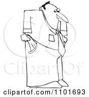 Clipart Outlined Businessman With Empty Pockets Royalty Free Vector Illustration by djart