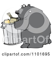 Clipart Bear Getting Into A Garbage Can Royalty Free Vector Illustration by djart