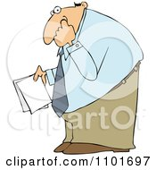 Clipart Businessman Holding Documents And Picking His Nose Royalty Free Vector Illustration