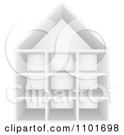 Clipart 3d White Cubby House With Storage Shelves Royalty Free Vector Illustration