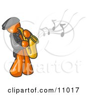 Musical Orange Man Playing Jazz With A Saxophone Clipart Illustration