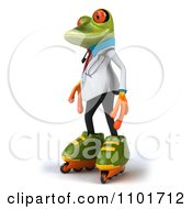 Clipart 3d Doctor Springer Frog Roller Blading 1 Royalty Free CGI Illustration