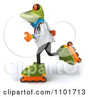 Clipart 3d Doctor Springer Frog Roller Blading 2 Royalty Free CGI Illustration