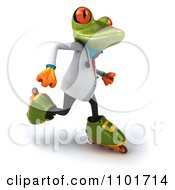Clipart 3d Doctor Springer Frog Roller Blading 3 Royalty Free CGI Illustration