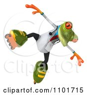 Clipart 3d Doctor Springer Frog Roller Blading 5 Royalty Free CGI Illustration
