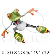 Clipart 3d Doctor Springer Frog Roller Blading 4 Royalty Free CGI Illustration