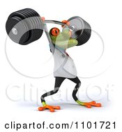 Clipart 3d Doctor Springer Frog Lifting A Barbell 2 Royalty Free CGI Illustration