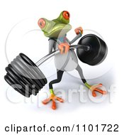 Clipart 3d Doctor Springer Frog Lifting A Barbell 1 Royalty Free CGI Illustration