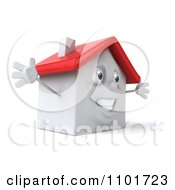 Clipart 3d Happy White House Character With Open Arms 2 Royalty Free CGI Illustration