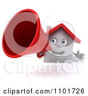 Clipart 3d White House Character Using A Megaphone 1 Royalty Free CGI Illustration