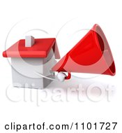 Clipart 3d White House Character Using A Megaphone 2 Royalty Free CGI Illustration