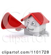 Clipart 3d White House Character Using A Megaphone 3 Royalty Free CGI Illustration