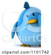 Clipart 3d Chubby Blue Bird Holding A Sign 3 Royalty Free CGI Illustration