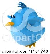 Clipart 3d Chubby Blue Bird Flying Left Royalty Free CGI Illustration