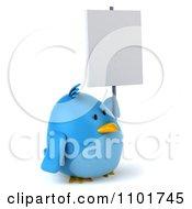 Clipart 3d Chubby Blue Bird Holding A Sign 4 Royalty Free CGI Illustration