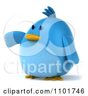 Clipart 3d Chubby Blue Bird Pointing To The Left Royalty Free CGI Illustration
