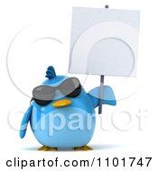 Clipart 3d Chubby Blue Bird Holding A Sign 5 Royalty Free CGI Illustration