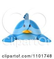 Clipart 3d Chubby Blue Bird Holding A Sign 2 Royalty Free CGI Illustration