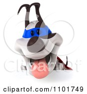 Clipart 3d Super Jack Russell Terrier Dog Panting Over A Sign Royalty Free CGI Illustration