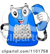 Clipart Happy Blue Desk Telephone Mascot Holding A Receiver Royalty Free Vector Illustration
