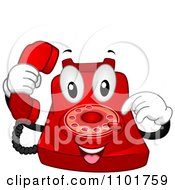 Clipart Happy Red Desk Telephone Mascot Dialing Royalty Free Vector Illustration