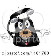 Clipart Happy Black Desk Telephone Mascot Ringing Royalty Free Vector Illustration