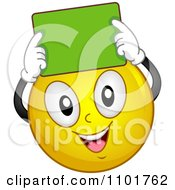 Clipart Happy Yellow Smiley Holding A Green Chalk Board Over His Head Royalty Free Vector Illustration