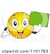 Clipart Happy Yellow Smiley Holding A Green Chalk Board Royalty Free Vector Illustration