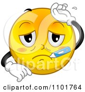 Clipart Sick Yellow Smiley With A Thermometer Royalty Free Vector Illustration