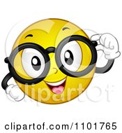 Clipart Nerdy Yellow Smiley With Glasses Royalty Free Vector Illustration