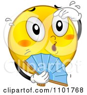 Clipart Hot Yellow Smiley With A Fan Royalty Free Vector Illustration