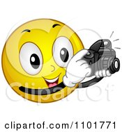 Clipart Photographer Yellow Smiley Taking Pictures Royalty Free Vector Illustration by BNP Design Studio