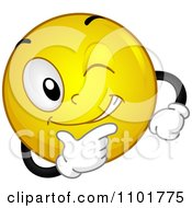 Clipart Yellow Smiley Winking And Smiling Royalty Free Vector Illustration