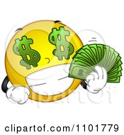 Clipart Rich Yellow Smiley Holding His Cash Royalty Free Vector Illustration