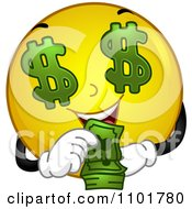 Clipart Rich Yellow Smiley Counting His Cash Royalty Free Vector Illustration