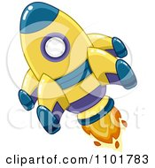 Clipart Yellow And Blue Space Shuttle Rocket Royalty Free Vector Illustration