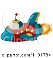 Clipart Red And Blue Space Shuttle With Stars And Flames Royalty Free Vector Illustration
