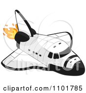 White Space Shuttle With Flames