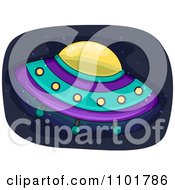Clipart UFO Flying Saucer In Outer Space Royalty Free Vector Illustration