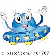 Clipart Happy Blue UFO Mascot Royalty Free Vector Illustration