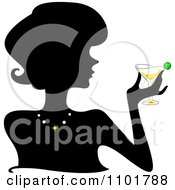 Clipart Silhouetted Woman Holding A Martini Royalty Free Vector Illustration