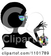 Clipart Silhouetted Black Woman Wearing Sungasses And Holding A Disco Ball Royalty Free Vector Illustration