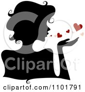 Clipart Silhouetted Woman Blowing Hearts Royalty Free Vector Illustration