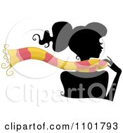 Clipart Silhouetted Woman Wearing A Pink And Yellow Scarf Royalty Free Vector Illustration