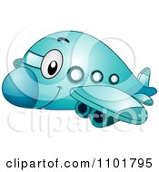 Clipart Cute Happy Blue Passenger Airplane Royalty Free Vector Illustration